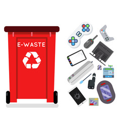 electronic waste recycling garbage can trash vector image
