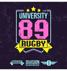 Emblem of the college rugby team vector image
