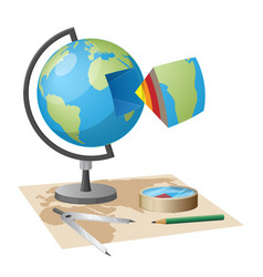 Equipment for geographical researches vector