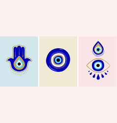 evil eye or turkish eye symbols and icons set vector image