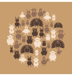 farm animals simple icons in circle eps10 vector image