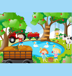 Farm scene with kids working vector