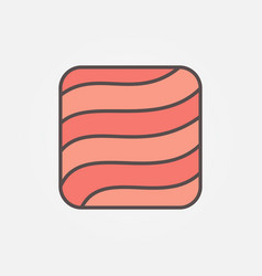 Flat salmon or trout fillet square concept icon or vector