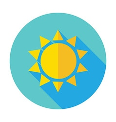 Flat Sun Sunlight Circle Icon with Long Shadow vector