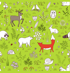 forest seamless pattern with cute bear fox vector image