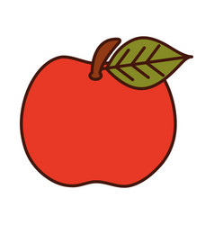 Fresh fruit apple harvest line and fill icon vector