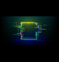 Futuristic glitch rectangle in cyberpunk style vector