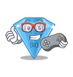 Gamer sapphire gem in a mascot box vector