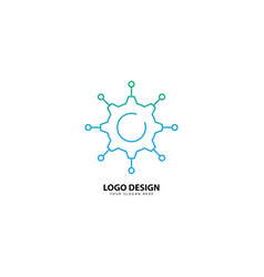 Gear tech and leaf logo design with monoline style vector