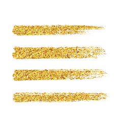 gold glitter brush strokes set isolated at vector image
