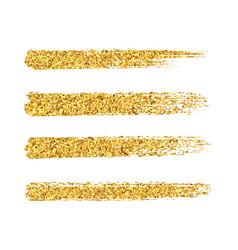 Gold glitter brush strokes set isolated vector