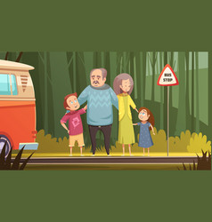 Grandparents and grandchildren cartoon composition vector