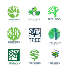 Green tree logo original design set of vector