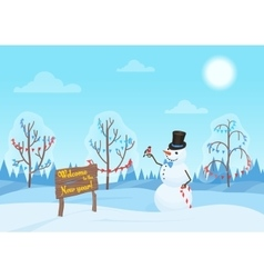 greeting christmas card snowman in forest vector image