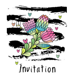 Hand drawn hipster floral invitation card cover vector