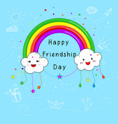 happy friendship day card design vector image
