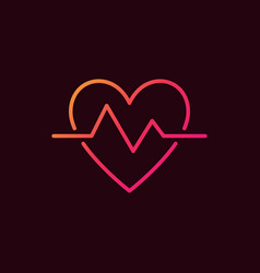 Heartbeat linear colored icon heart beat vector