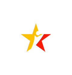 human figure star logo template vector image