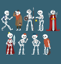 Human skeletons set funny dead man zombie cartoon vector