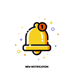 Icon of cute golden bell for new notification vector