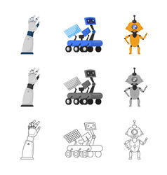 Isolated object robot and factory symbol vector