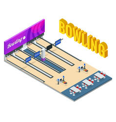 isometric bowling center interior with game vector image
