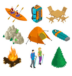 isometric camping elements set vector image
