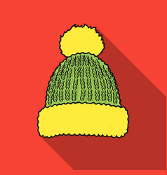 knit cap icon in flate style isolated on white vector image