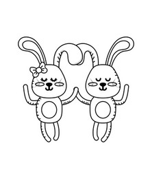 Line cute animal couple rabbit together vector