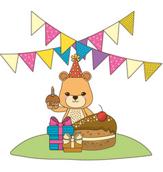 Lioness cartoon with happy birthday icon design vector