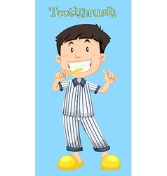 Little boy brushing his teeth vector image