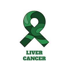 liver cancer awareness papercut ribbon vector image