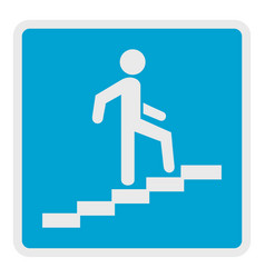 Man climbing the stairway icon flat style vector