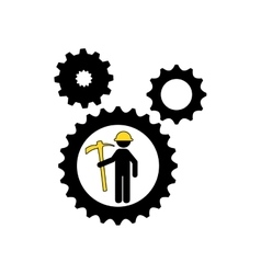 man mining gears pickax icon vector image