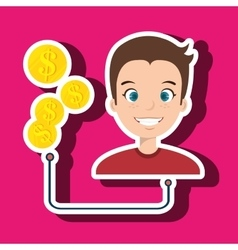 man with currency isolated icon design vector image