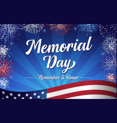 memorial day remember and honor handwritten card vector image