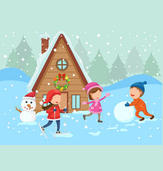 merry christmas on a winter landscape vector image