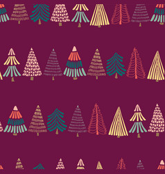 modern doodle christmas trees in a row on pink vector image