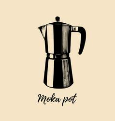 moka pot hand sketched maker vector image