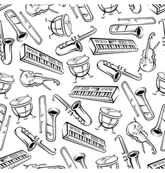 Musical instruments seamless pattern background vector image