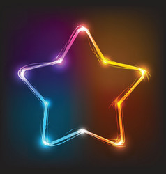 Neon star illuminated neon billboard vector