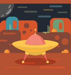 night alien world landscape and ufo spaceship vector image