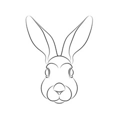 outline stylized rabbit portrait on white vector image