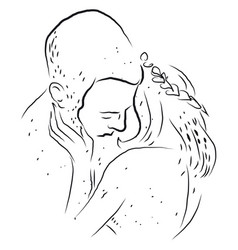 People kissing sketch on white background vector