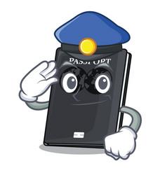 Police black passport in a cartoon bag vector