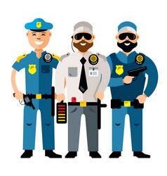 policeman and security flat style colorful vector image vector image