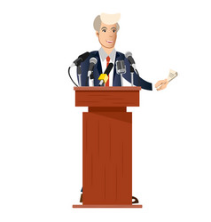 Public speaker with tv microphones vector