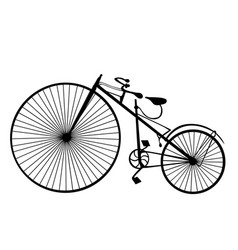 Retro bicycle silhouette icon isolated on white vector