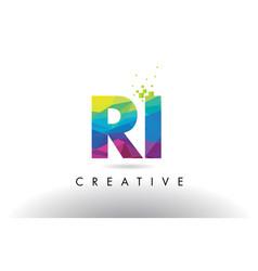 Ri r i colorful letter origami triangles design vector