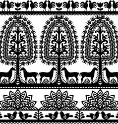 Seamless floral Polish folk art pattern Wycinanki vector